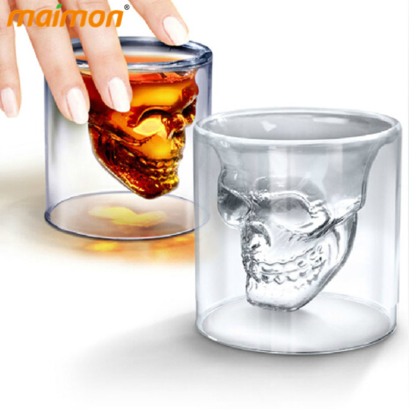 Novelty Double Wall Doomed <font><b>Crystal</b></font> <font><b>Skull</b></font> <font><b>Shot</b></font> Glass Cup <font><b>Head</b></font> <font><b>Skull</b></font> <font><b>Vodka</b></font> <font><b>Whiskey</b></font> <font><b>Shot</b></font> Wine Glass Cup Glassware Copo De Vidro Cup