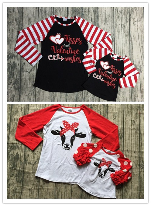 Día de San Valentín de mamá y Me Otoño/Invierno raglans bebé niñas besos y San Valentín desea impresión raglans chicas san Valentín reindder