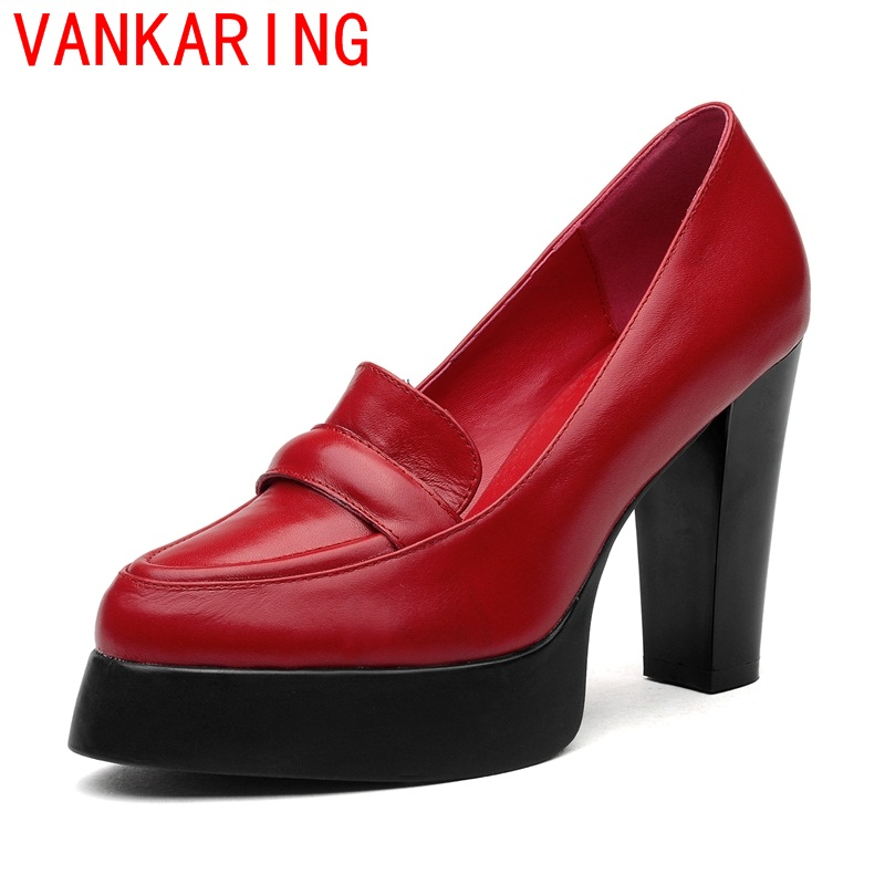 ФОТО VANKARING shoes 2016 fashion office career genuine leather pumps shallow spring autumn slip-on high quality round toe shoes