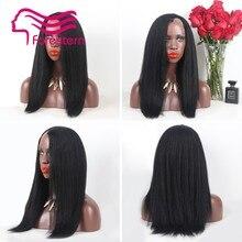 Glueless Kinky Straight U Part Wig Brazilian Human Hair Kinky Straight Wig Remy Kinky Straight Wig For Black Women