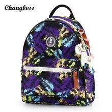 Симпатичный кулон Перо печати рюкзак Для женщин пеленки рюкзак travel organizer двойной Сумка Lady Обувь для девочек школьная сумка Mochila