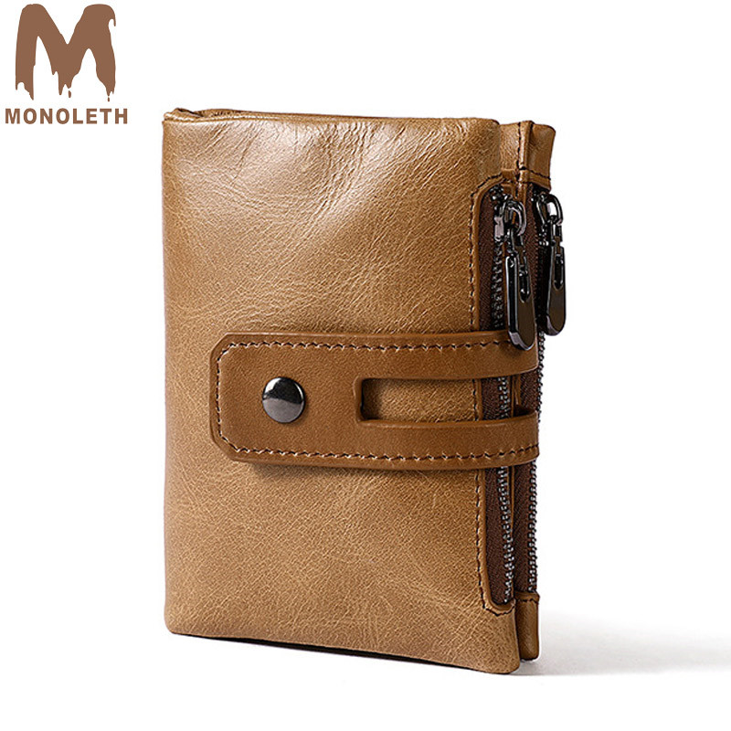 MONOLETH genuine leather men wallets Fashion Business Wallet Male Double zipper Cowhide Cover Coin Purse Small Brand Male Credit