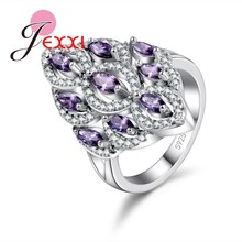 JEXXI Exquisite 925 Sterling Silver Wedding Accessories African AAA Crystal Stone Flower Design Rings Bridal Jewelry