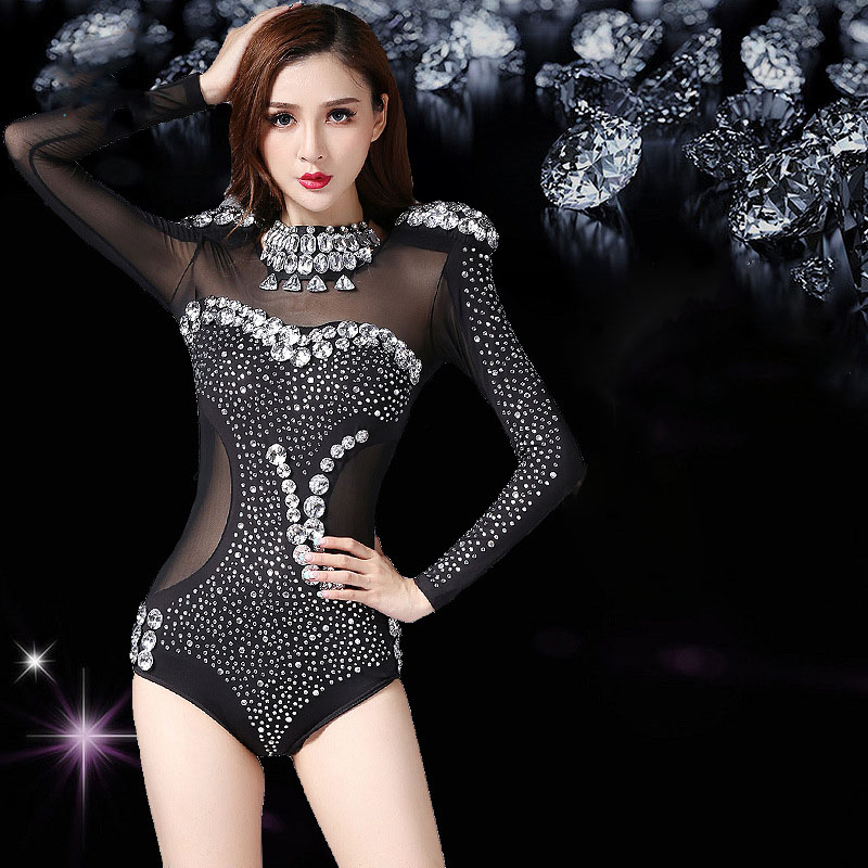 2018 costume danse spectacle  Newest Rhinestone Jazz Dance Modern Dance Costume Fashion High Quality Dancing Dress
