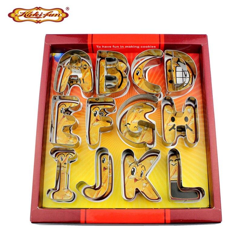 26 pièces/ensemble 3D A-Z lettres outils de cuisson ensemble bricolage 430 en acier inoxydable gâteau ménage Cookie moule Plasticine moule coloré boîte emballage