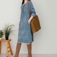 2018 Spring Autumn Women Dress Vintage Corduroy Long Sleeve Square Collar Loose Knee Length Dresses Cute