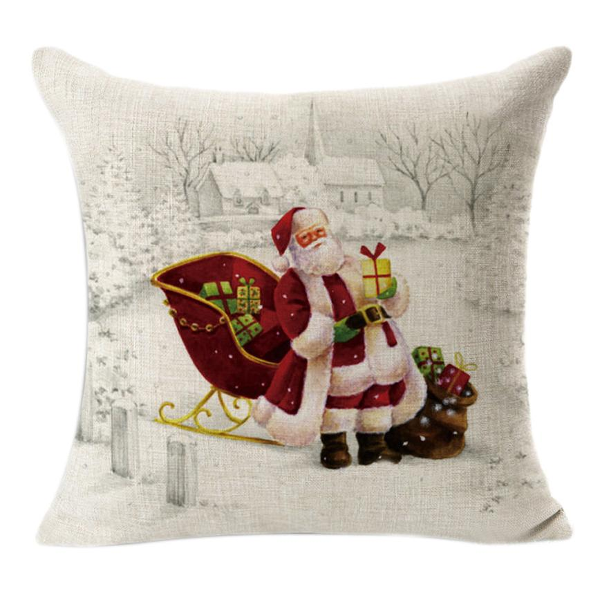 2018 NEW Christmas Linen Square Throw Flax Pillow Case Decorative Cushion Pillow Cover For Home Freeshipping DE1