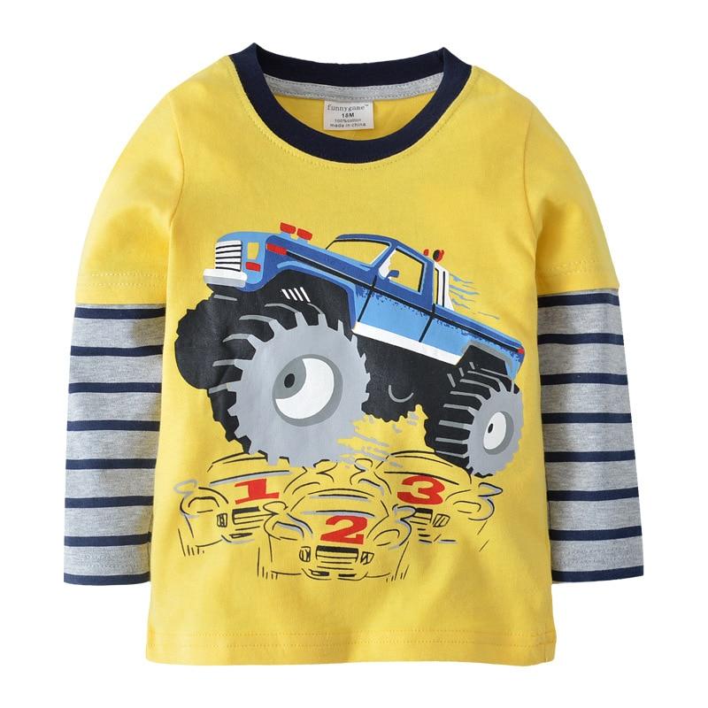 цена на Boys girls Designer brand Sweatshirts spring Long sleeve T shirt Cotton Dinosaur car pattern top tees baby clothes kids clothing