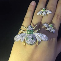 insect jewelry set 925 sterling silver with cubic zircon bee pendant and earring fashion women jewerly free shipping