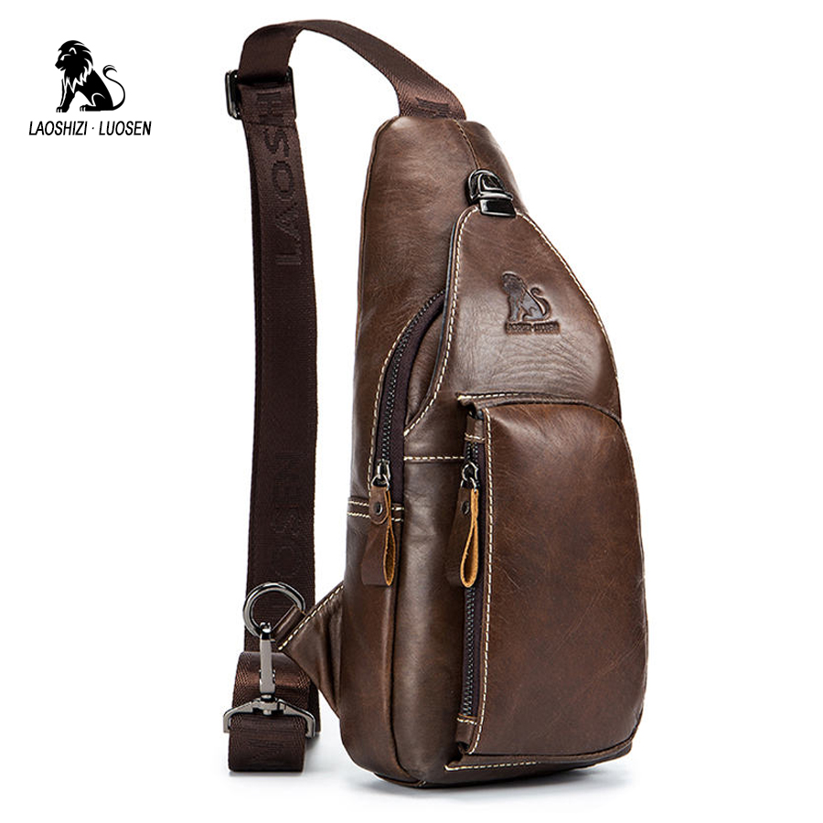 LAOSHIZI LUOSEN Shoulder Bag Small Men Genuine Leather Chest Pack Crossbody Single Strap Sling Bag Male Messenger Bag Vintage laoshizi luosen genuine leather chest bag for men messenger bags vintage crossbody sling bag man shoulder bag small chest pack
