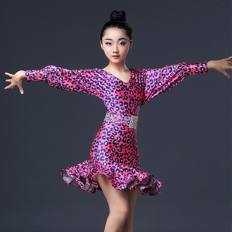 Latin Dance Dress Long Sleeve Leopard Print Girls Competition Performance Dresses Kids Cha Cha Rumba Practice Dancewear DNV11235