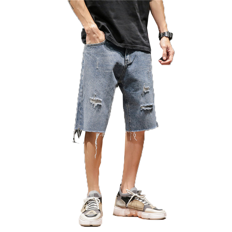 Ripped Jeans Short Male Casual Summer Man Denim Fashion for Men Blue-Hole Homme Knee-Length