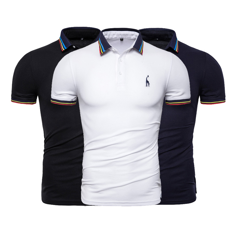 3-Pack Summer   Polo   Shirt Men Brand Solid Embroidery Short Sleeve   Polo   Shirt Men Fashion   Polo   Giraffe Mens High Quality Shirts