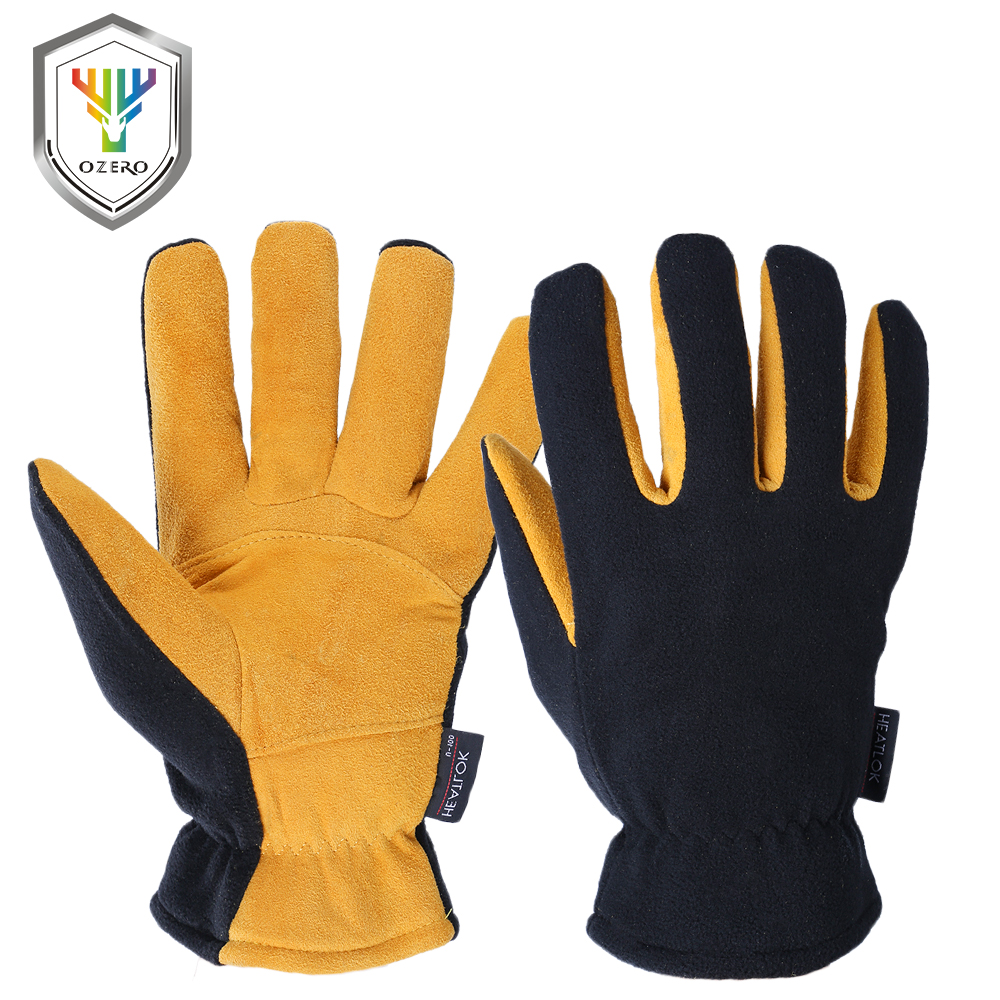 OZERO Deerskin Winter Warm Gloves Men's Work Driver Windproof Security Protection Wear Safety Working For Men Woman Gloves 9009