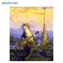 SDOYUNO Frameless A cat playing guitar Coloring By Numbers DIY Gift Paint By Numbers For Adults Home Decor Painting By Numbers