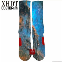 Men high quality custom knee-high 3D sublimation print terry cushioned Galaxy sports basketball elite socks