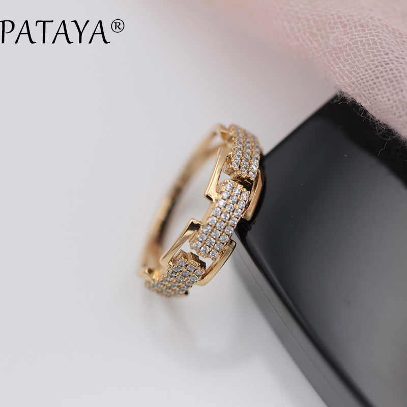PATAYA New Arrivals Three Rows Round White Natural Zircon Rings Women Party Wedding 585 Rose Gold Concise Jewelry Accessories