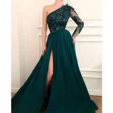 Green One Shoulder High Split Side Formal Dresses Evening Gown Prom Party A Line Appliques prom dress