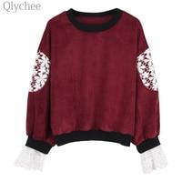 Qlychee Autumn Women Floral Crochet Hoodies Pullover Lace Corduroy Sweatshirt Ulzzang Color Patchwork Streetwear Tracksuit