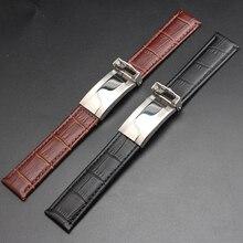 Zurriago de la alta calidad correa de piel ancho 20 mm negro marrón con hebilla desplegable extremo recto de la correa pulseras para hombre reloj nuevo