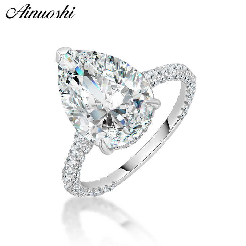 AINOUSHI Fashion 925 Sterling Silver Wedding Engagement Big Pear Rings Lover Silver Anniversary Party Rings Jewelry