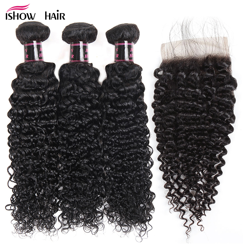 Ishow Hair Indian Curly Lace Closure 100 Human Hair Bundles With Closure 4 4 Free Part