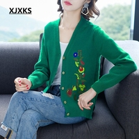 XJXKS High ends young ladies women 2019 fashion cardigan sweater single breasted with flower embroidery women sweater coat