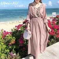 Ubei Spring /Summer travel fairy dress FASHION chiffon long dress gentle wind sweet holiday dress bohemian chiffion lace dress
