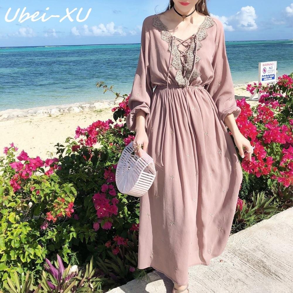 Ubei printemps/été voyage fée robe mode mousseline de soie longue robe doux vent doux vacances robe bohème mousseline de soie dentelle robe