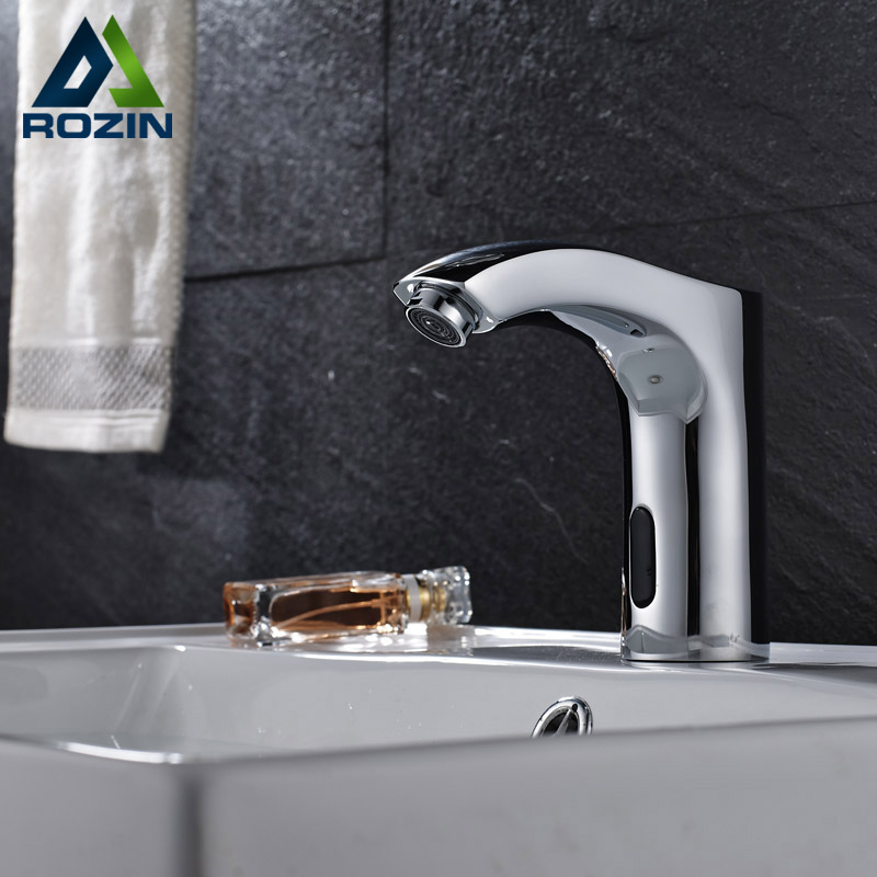 Chrome Finish Bathroom Sink Automatic Faucet Sense Faucets Single Hole No Handle Free Tough Tap Cold Water contemporary chrome finish single handle bathroom sink faucet silver