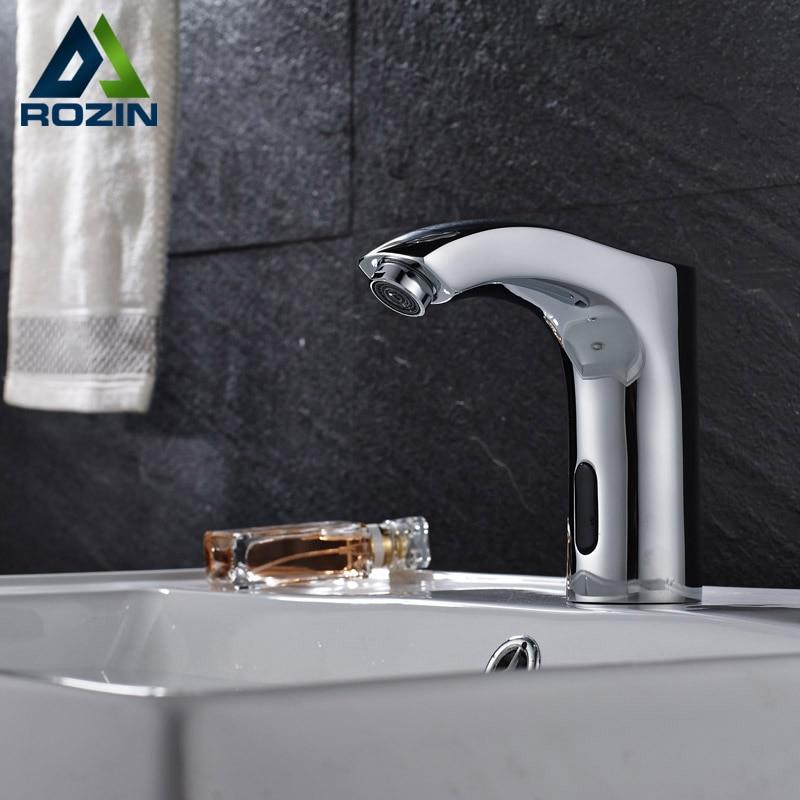 Chrome Finish Bathroom Sink Automatic Faucet Sense Faucets Single ...