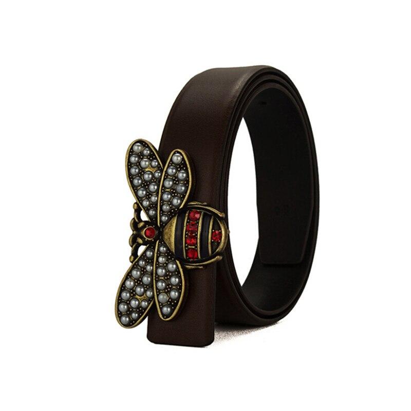 eac9ebd1958ba Haute qualité nouvelles femmes ceintures en cuir de luxe petite abeille  lisse boucle ceinture pour fille mode diamant véritable cuir marque ceinture  dans ...