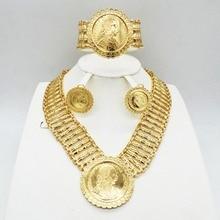 Altın bayan kolye takı seti Dubai düğün gelin takı takı seti moda kolye küpe bilezik seyahat takı seti
