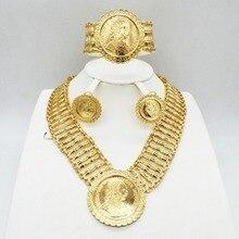 Conjunto de joyería collar de mujer dorado, conjunto de joyería de Dubái para boda, novia, collar, pendientes, pulsera, conjunto de joyería de viaje