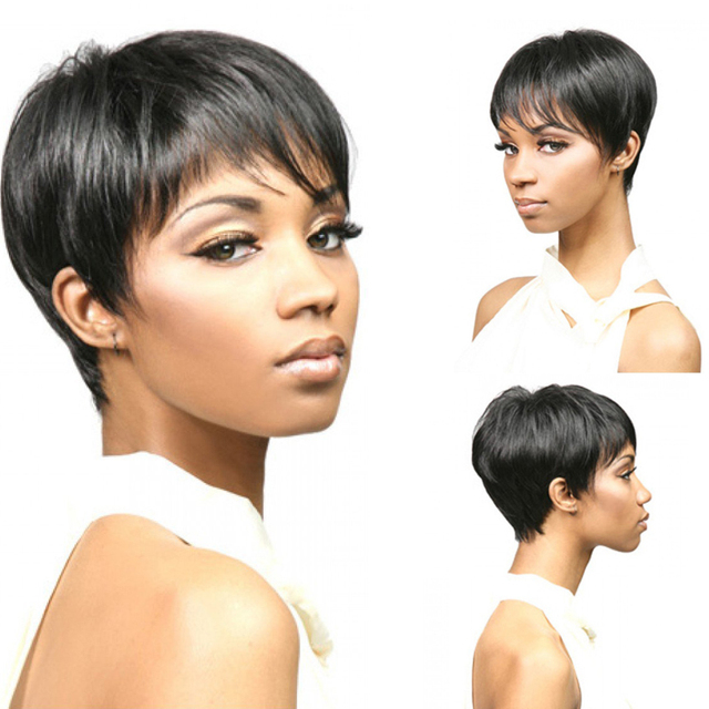 New Hairstyle Synthetic Short Black Wigs Africans Afro Stylish Pixie Cut Wig For Black Women Natural Heat Resistant Hair Wigs