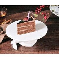 Фарфоровая тарелка для тортов, керамический держатель для ног белого кролика, Креативные украшения для дома, керамические украшения, аксес...
