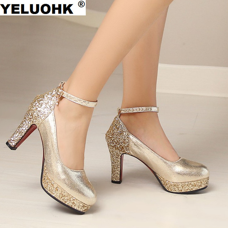 Large Size Bling Wedding Shoes Women High Heels Platform Ankle Strap Ladies Shoes Silver Pumps Fashion Women Shoes 2018