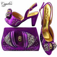 Capputine 2018 Newest African Women Purple Shoes And Bags Set For Parties African Rhinestone Shoes And