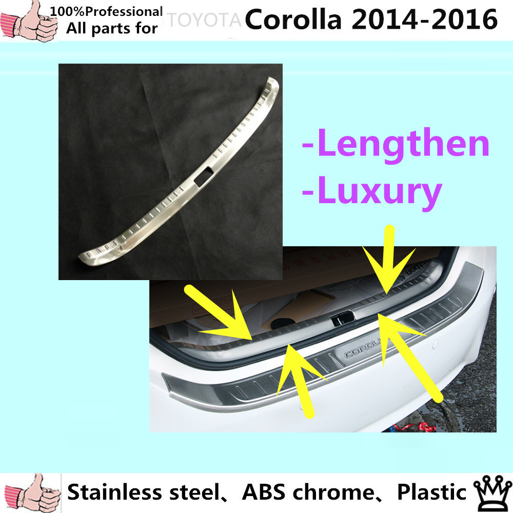Car inner Rear back Bumper trim Stainless Steel Scuff trunk plate pedal panel cover 1pcs for Toyota Corolla Altis 2014 2015 2016 car styling cover detector stainless steel inner built rear bumper protector trim plate pedal 1pcs for su6aru outback 2015