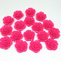 50pcs 20mm Bright Pink Rose Flower Flatbacks Embellishments DIY Resin Cabochons Scrapbooking Crafts