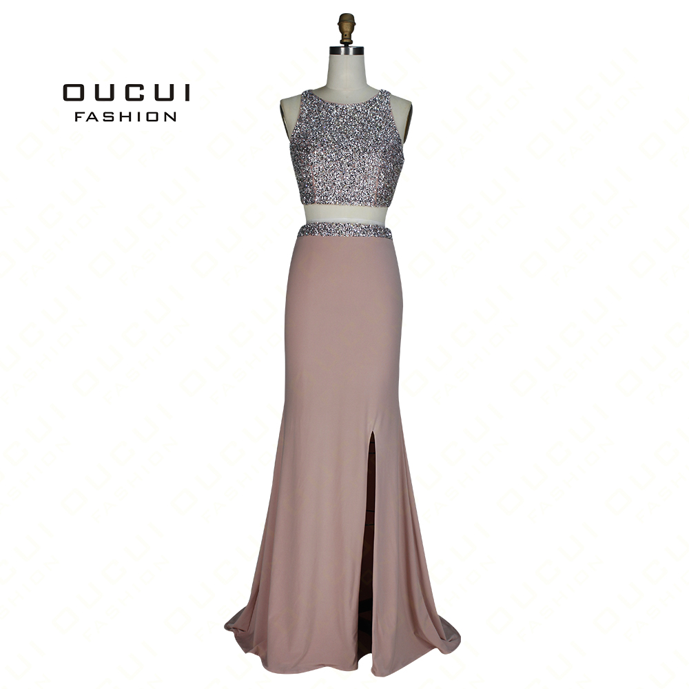 Luxury Heavy Beading Two Pieces Backless Side Slit Jersey O-Neck Long Mermaid   Evening     Dress   OL103045