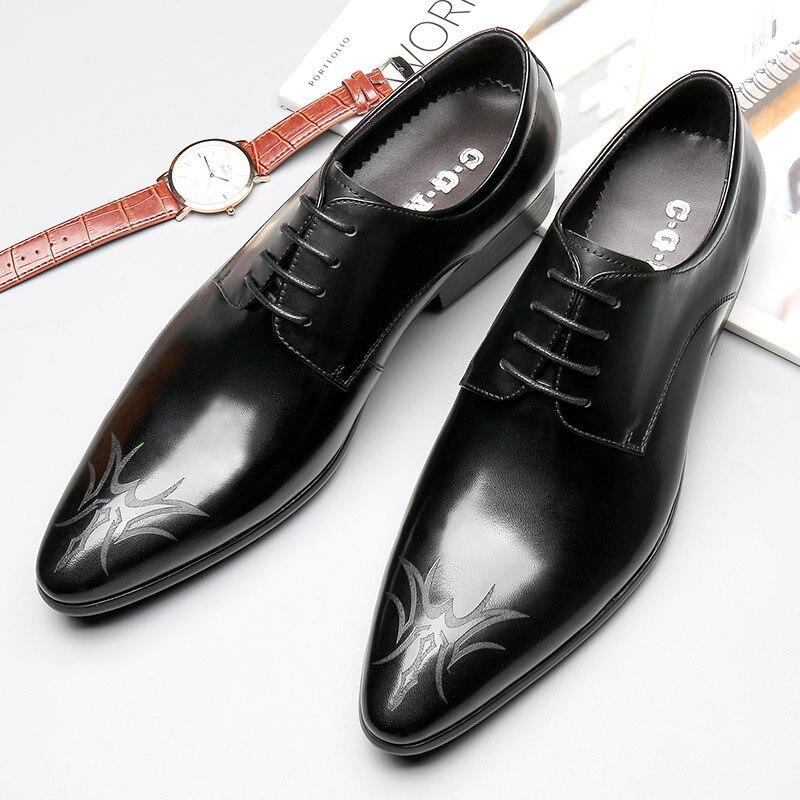 Moda Preto Confortável Homens Luxo De Couro Formais Flats Escritório Qyfcioufu Masculina Apontado Sapatos Oxford Genuínos cáqui Dedo SZqFfYxYw