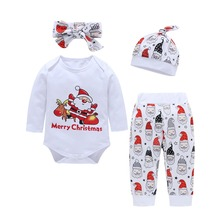 4PCS Christmas Children Clothing Set Pajamas Sets Kids Girls T-shirt Pants Kit Suit Newborn Baby Boys Clothes Set