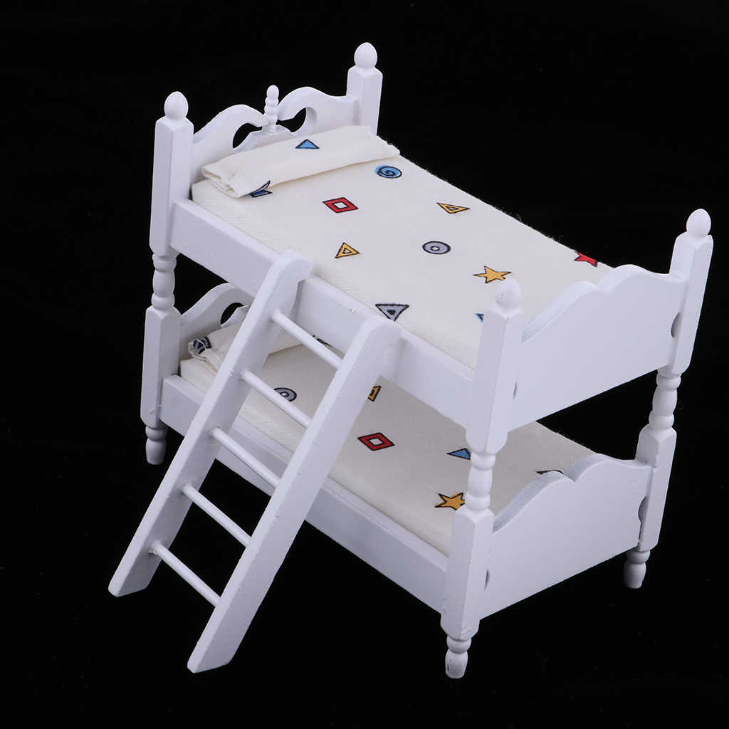 1/12 Scale Dollhouse Miniature Kids Bedroom Furniture Bunk Bed White