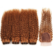 Brazilian Kinky Curly Hair Bundles With Closure Blonde #30 5 Pcs Human Hair Weave Bundles With Closure 26 Inch Non Remy