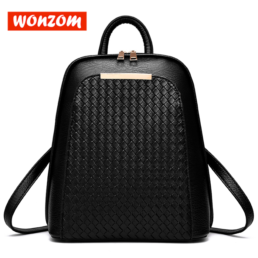 Wonzom High Quality Leather Backpacks Fashion Solid Diamond Check Women Bags Classic Style Mochila Escolar Feminina Top Handle