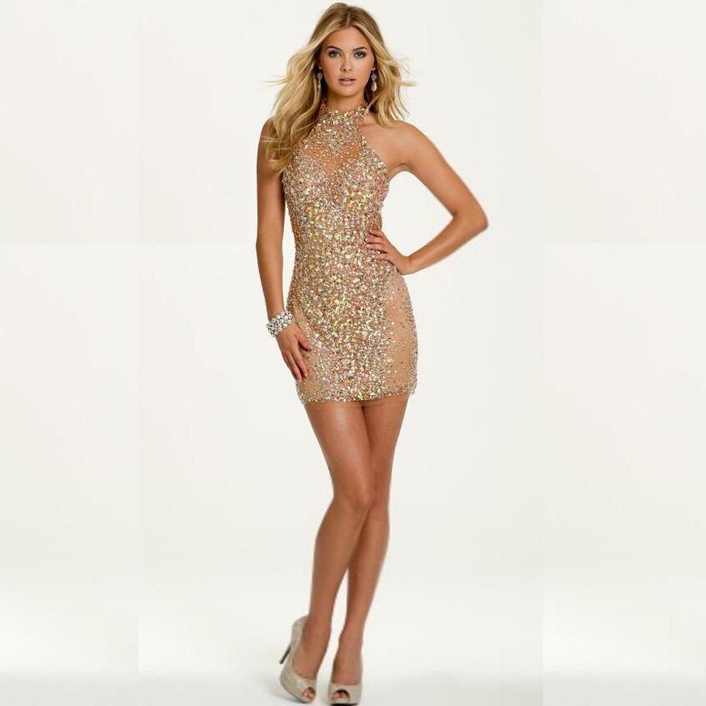 Aliexpress.com : Buy Mini Cocktail Dresses 2016 Sheer Short Beaded ...