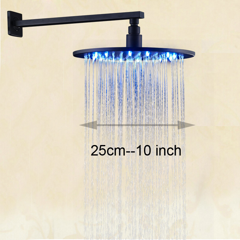 LED Light 10 Round Shower Head Wall Mount Shower Arm Bathroom Rainfall Shower Head Oil Rubbed Bronze luxury led color changing 12 square rainfall shower head with brass wall mount shower arm oil rubbed bronze