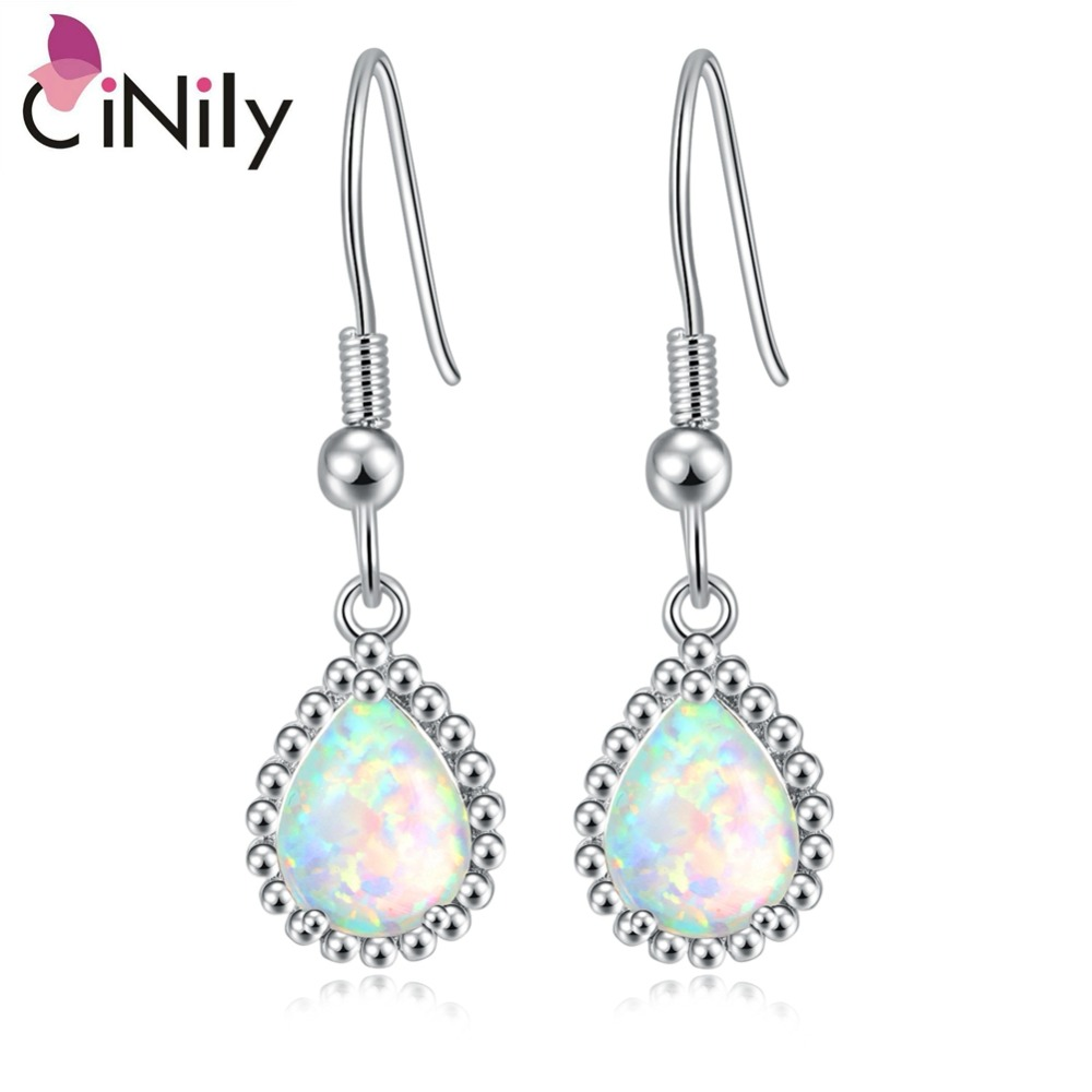 CiNily White & Blue Fire Opal String Of Beads Dangling Øreringe Forgyldt Drop Earring BOHO Summer Smykker Gifts Girl Woman