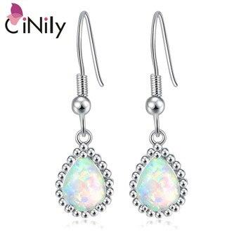 CiNily blanc et bleu opale de feu chaîne de perles pendantes boucles d